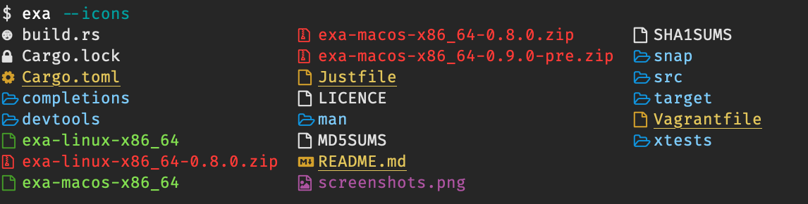 A screenshot of exa with icons next to the file names.